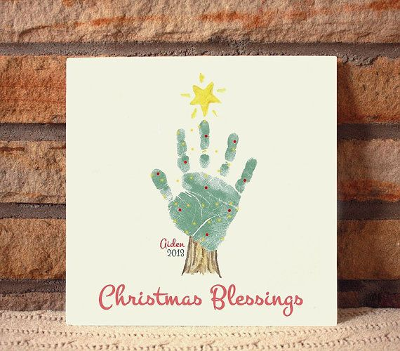 Ceramic footprint plaque by Forever Prints. Handprint Christmas Tree. Made w/ your child's actual handprints.  Mother's Day, New Baby on Etsy, $55.00