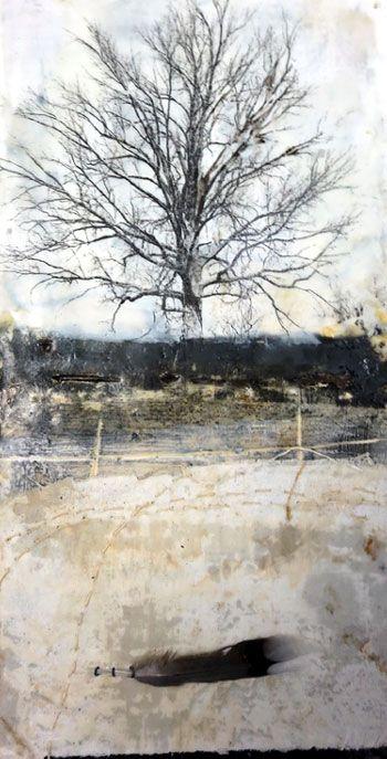 Bridgette Guerzon Mills | Homeward Bound, encaustic mixed media Read more at: Contemplating the Moon blog post. Finding my way through my art process.