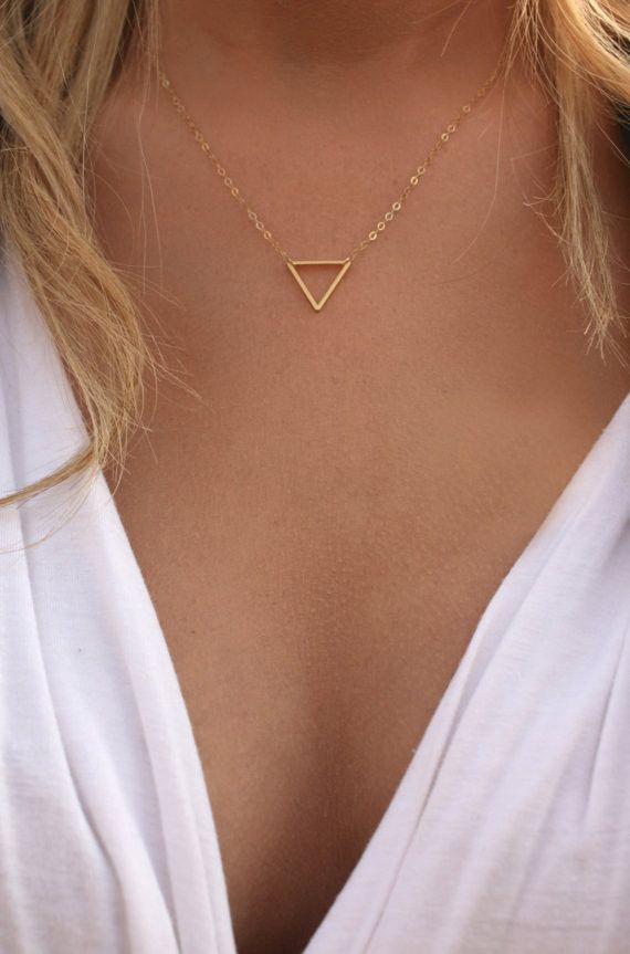 Neat Triangle Plated Golden Pendent Necklace