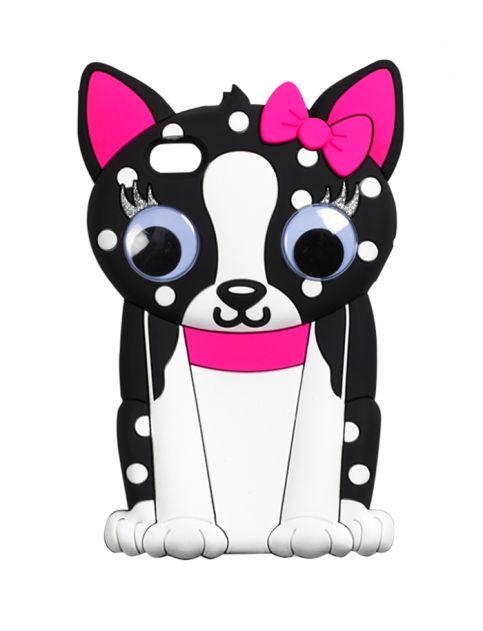 Funda de perrito con moño y collar rosa y ojos que se mueven