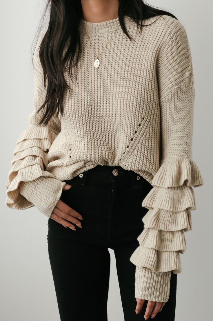 Spectacular Style Beige Flounce Sleeve Sweater - Closet Confidential Blog