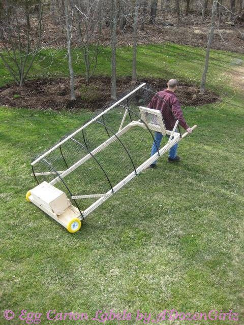 The Chicken Chick:  Chicken tractor --- A chicken tractor is a portable enclosure used to move chickens around the yard. It is not a housing unit. It's essentially a mobile playpen for use during the day.
