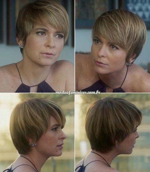 """Claudia Abreu, 46 anos, mudou radicalmente o visual dos cabelos para viver Helô, na novela """"A Lei do Amor"""". Ela cortou as longas madeixasno melhor estilo joãozinho pixie, com fr…"""