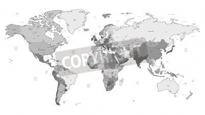 Mapa świata szczegółowe wektora szare kolorów. imiona, znaki na obrazach Redro. Najlepszej jakości naklejki, fototapety, obrazy, plakaty, poduszki. Chcesz ozdobić swój dom? Tylko z Redro