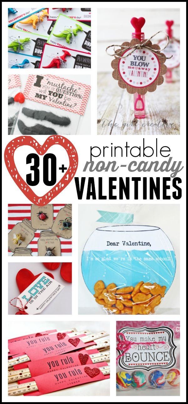Oh my goodness!  So many cute ideas!  30+ Non-Candy Valentines (Printable Valentines for Kids)