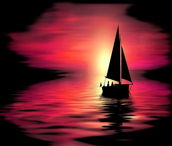 'Abstract Sailing at Sunset Graphic' Poster by Paula Helit