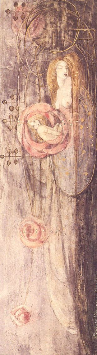 Sleeping Princess by Frances Macdonald, 1896. Watercolour (Wiki upload rotated 90° to the left)