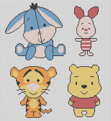 DISNEY cuties free cross stitch pattern...link also has Mickey, Minnie, Pluto, Donald, etc. (Link not in English)