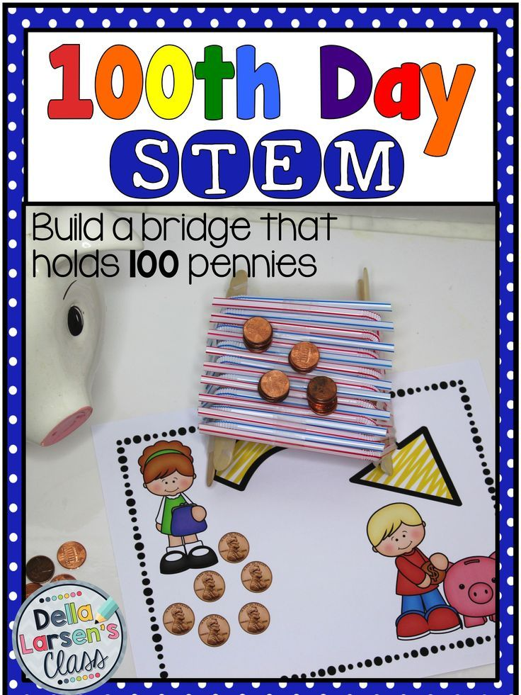 """Celebrate 100 days of school with a fun STEM challenge. This works well with kindergarten, first grade, and second grade engineers working together or alone in centers. A great addition to 100 day centers. This resource uses the engineering design process to solve problems. Your kids will have fun building a desk that holds 100 papers, a bridge that holds 100 pennies, and a tent made with """"poles"""" that are made of 100 Cheerios. Each challenge has a bonus challenge to help differentiate."""