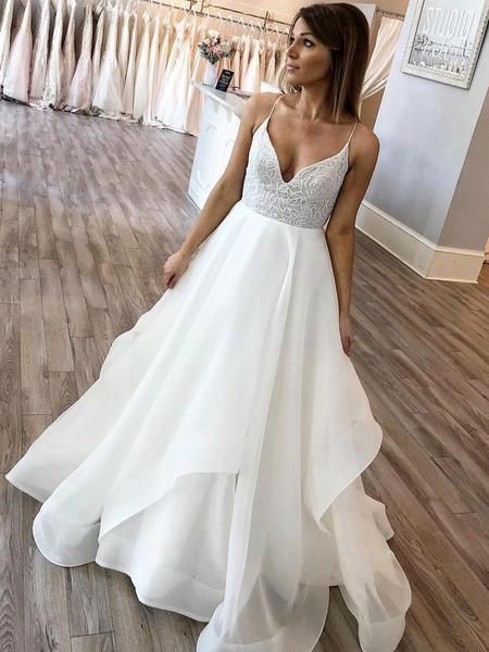 A-line V-neck Spaghetti Strap Charming Wedding Dresses MBG001