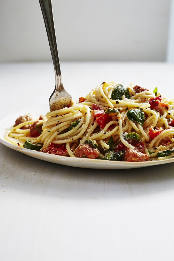 Mario Batali's Tomato & Chorizo Spaghetti Is a Weeknight Dinner Dream ~ The entrée can be prepared in just 30 minutes and, best of all, it's easily customizable to match your taste buds. Use a hotter or more mild pepper depending on your desired level of heat; use whole wheat spaghetti for a healthy twist or swap in any fresh sausage in place of the chorizo.