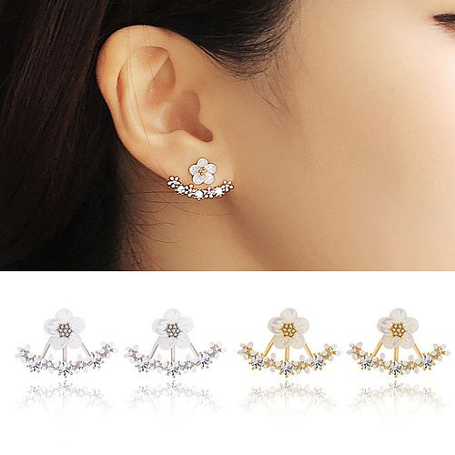 2015 Fashion Earing Big Crystal White Gold Silver Jewelry High Quality Flower Ear Clips Stud Earrings For Women Brinco E2229
