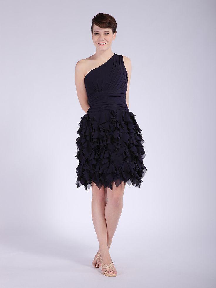 One-shoulder Layered Chiffon Dress