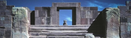 Puma Punku is a complex of ruins, part of a large temple group that is part of the Tiwanaku site near Tiwanaku, Bolivia ca 4000 m above sea level. Puma Punku is now understood to be at least 12,000 - 17,000 years old, essentially, right out of the Stone Age.