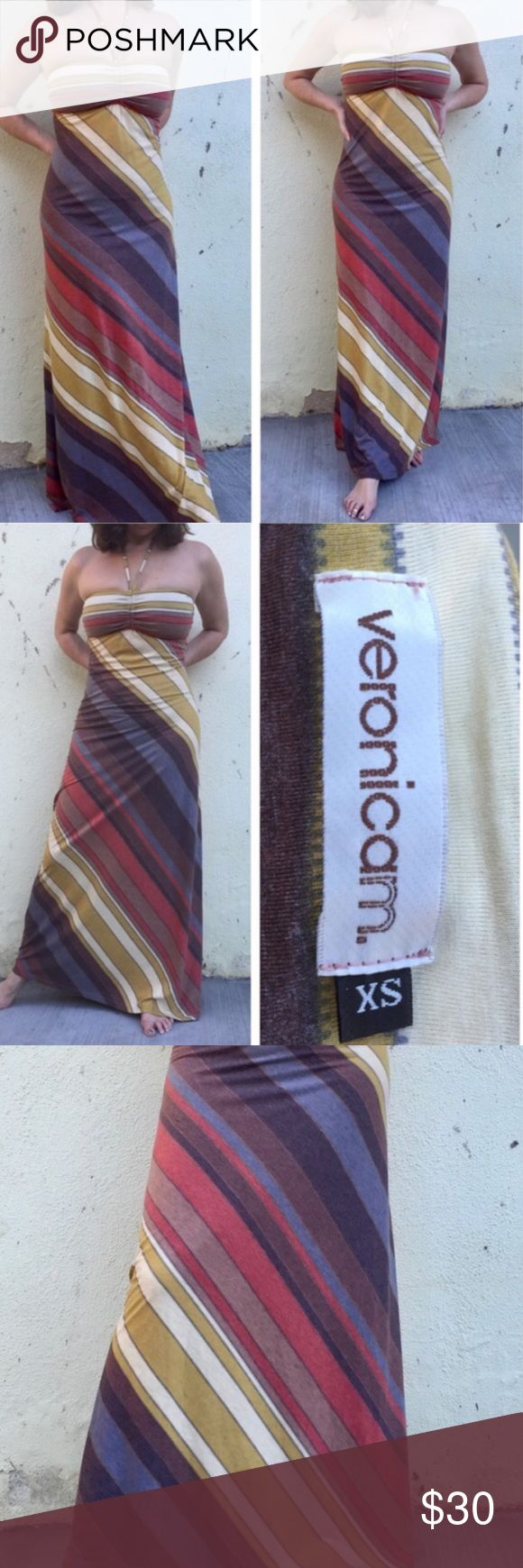 VeronicaM STRIPED vintage maxi DRESS Halter LONG By trend setting designer Veronica M comes this beautiful striped print. with flattering lines and architectural hues this comfortable and striking extra long maxi dress is rayon and spandex. Sz Xs which would also fit a Small.  bodice has a strong hold - no bra required. With attached halter string. (J1) veronicaM Dresses Maxi