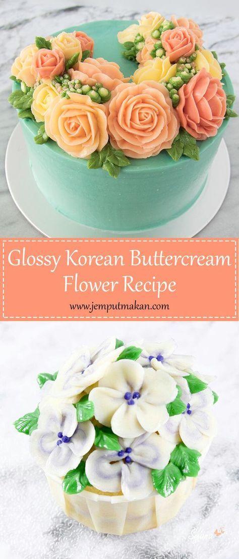 Glossy Korean Buttercream recipe. Learn how to make glossy buttercream recipe for your flower cake!