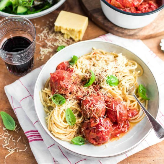 Italian Style Meatballs and Spaghetti with Salad by Nadia Lim | NadiaLim.com