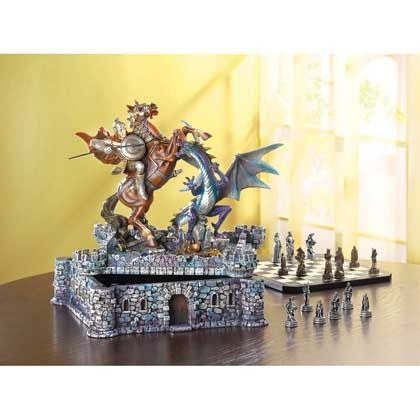 Dragon Chess Set    http://www.bonanza.com/listings/Dragon-C...      Priced $102.95. Categorized under Toys & Hobbies >> Games >> Board & Traditional Games >> Chess >> 1970-Now. Condition: New. Dragons and knights fight a timeles batle over this medieval fortres and the treasures hiden within. A stuning take on the clasic game of strategy, this ches set is a true wo…