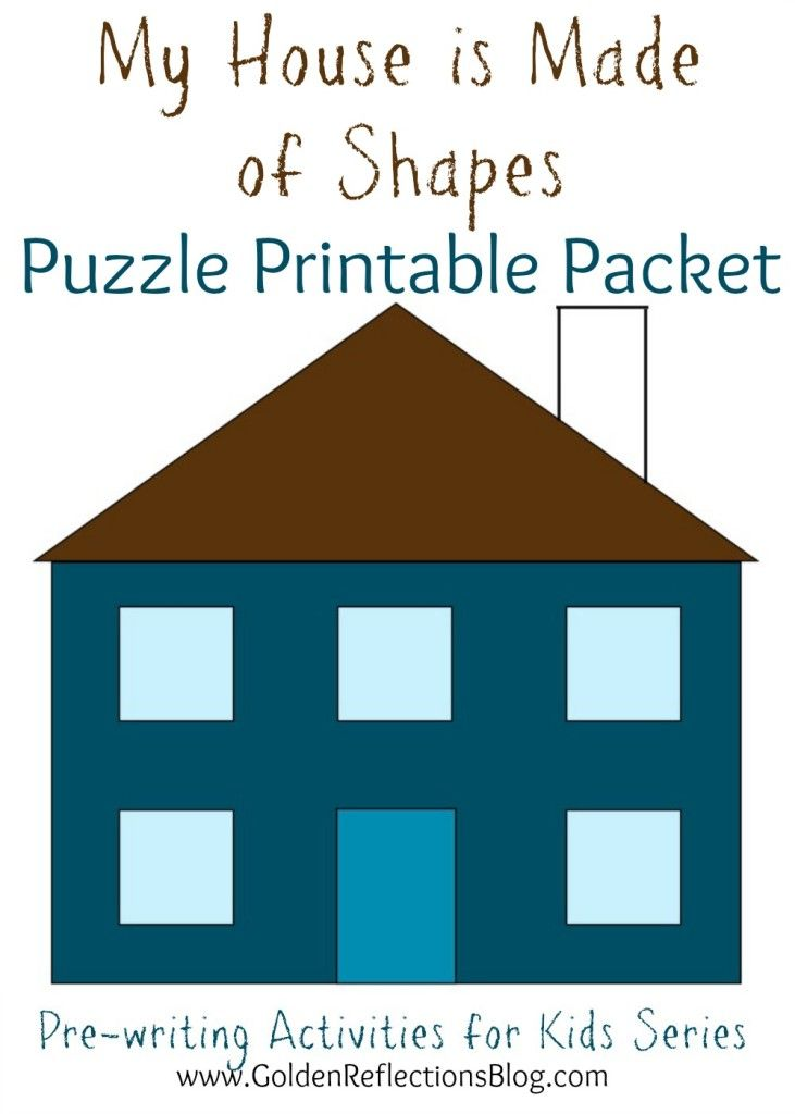 My House is Made Of Shapes Free Puzzle Printable Packet from Golden Reflections Blog