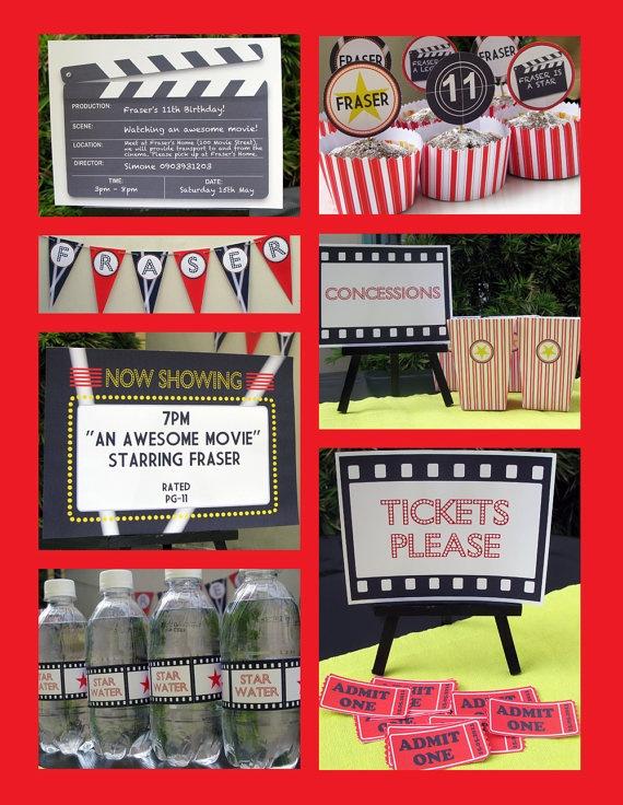 Movie Night Birthday Party Invitation & Printable by SIMONEmadeit, $13.95