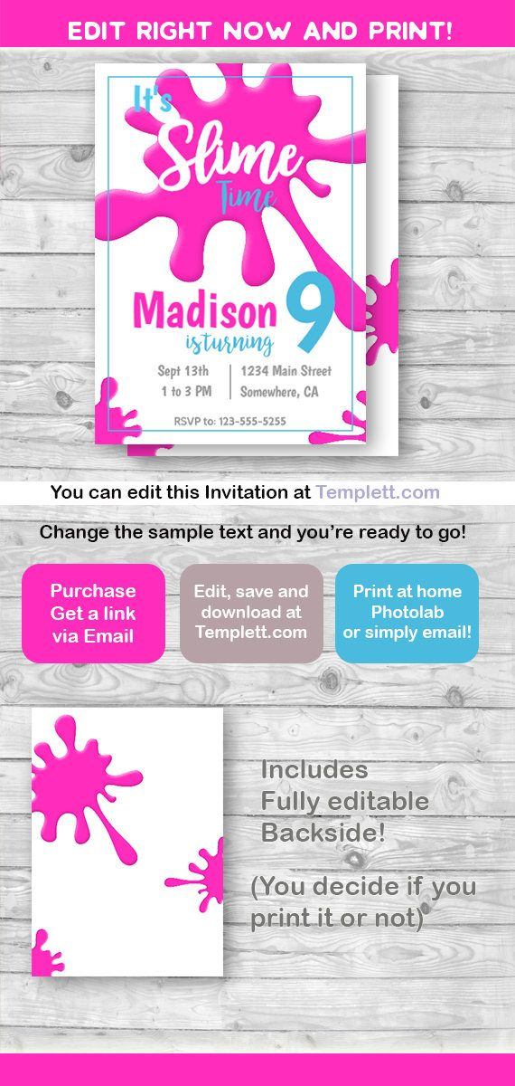 Slime Invitation And Thank You Card Pink Slime Party Invite Etsy Slime Party Party Invite Template Invitation Template