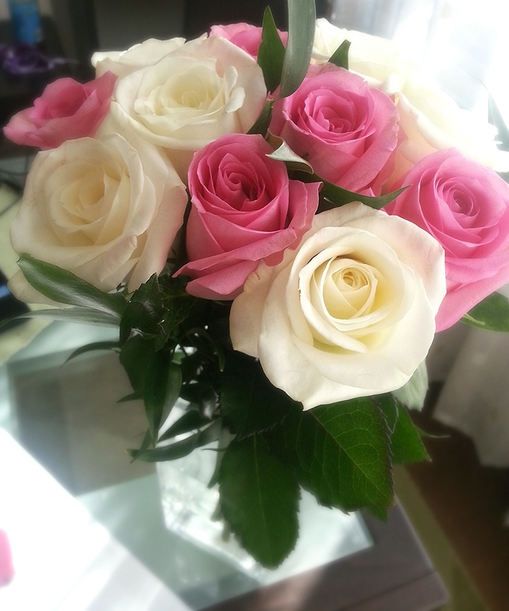 Sweet white and pink roses bouquet