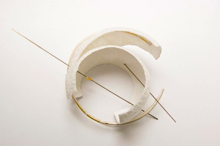"Angela Ciobanu  ""Forget-me-not"" Brooch - Keum boo, recycled silk paper, fretsaw blades, fine gold."