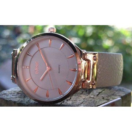 LOISIR-11L65-00069-Jazz-horloge---grijs-leer-horlogebandje---38-mm---RVS