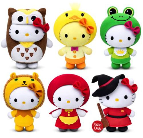 Singapore is enthralled with McDonald's new Hello Kitty plush toys. The new set of toys are being released to commemorate the 40th anniversary of Hello Kitty. Photo credit: http://www.crazykopitiam.com/hello-kitty-de-tong-hua-gu-shi/: Photo Credit