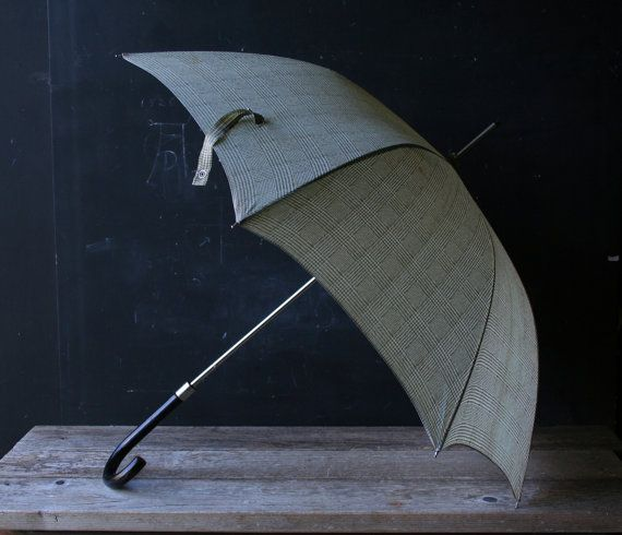 Vintage Large Mens Umbrella Wood Handle Gray Green Print From Nowvintage on Etsy