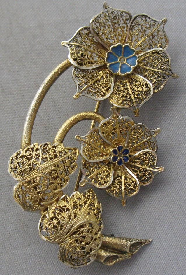 Topazio Sterling Silver Gold Wash Enamel Filigree Flower Brooch Pin | eBay