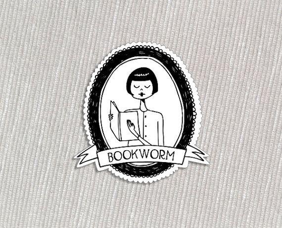Bookworm acrylic flapper brooch
