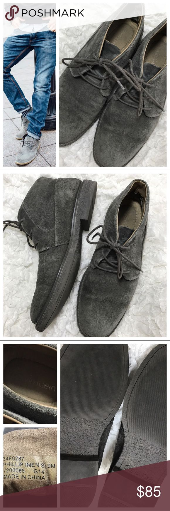 Men's CK Phillip - Suede Chukka Boot Beautiful grey suede upper, rubber sole. Excellent condition by CK. Calvin Klein Shoes Chukka Boots