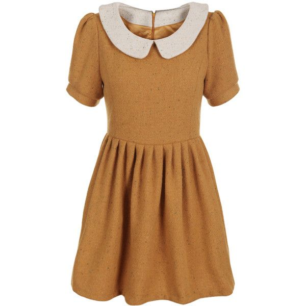 Peter Pan Collar Ginger Dress ($83) ❤ liked on Polyvore featuring dresses, vestidos, robes, yellow, retro-style dresses, yellow dress, peter pan collar dress, puffed sleeve dress and brown pleated dress
