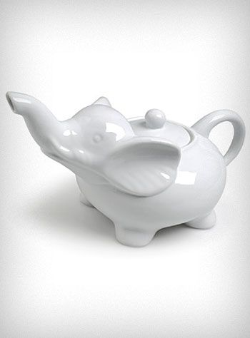 I wish white elephant christmas parties meant that you just get gifts that are white elephant - Elephant shaped teapot ...