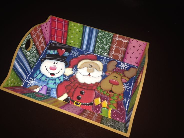 Charola mediana navidad christmas snowman santa claus rudolph