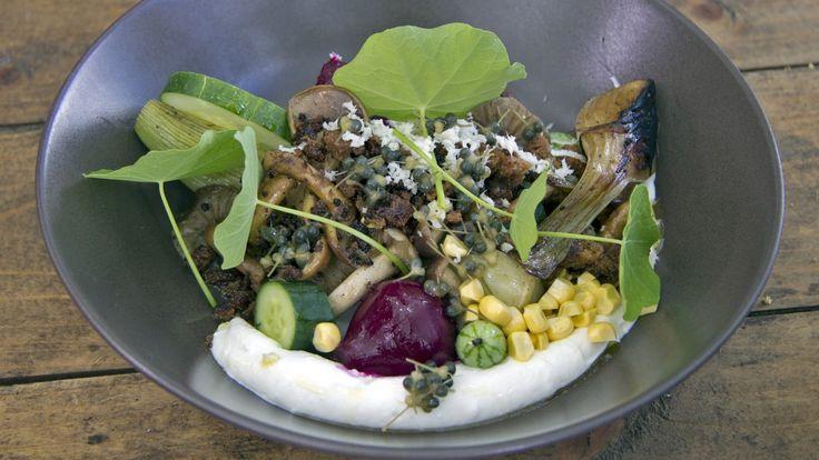 Tareq Taylor bruker flere forskjellige sorter i sin oppskrift på soppsalat sammen med agurk, mais, geitostkrem, kapers av ramsløk og flere sorter bete.