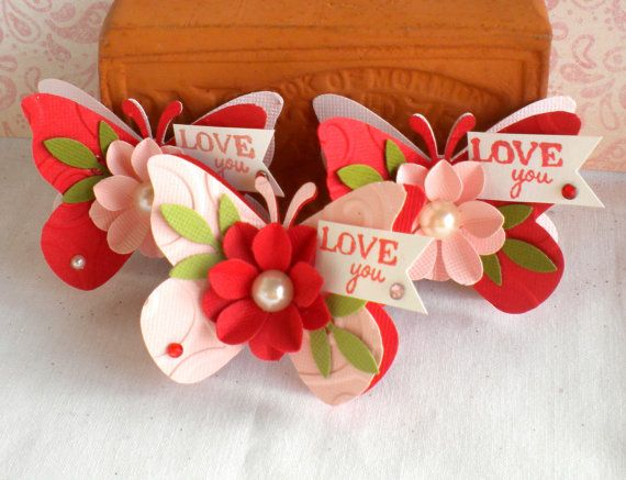 SALE - Valentine Butterfly Embellishments. -Flower- LOVE-