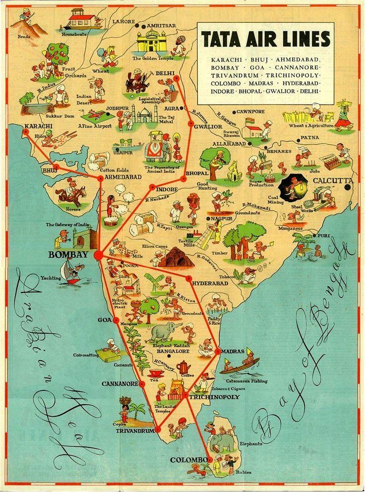 india vintage illustrated map