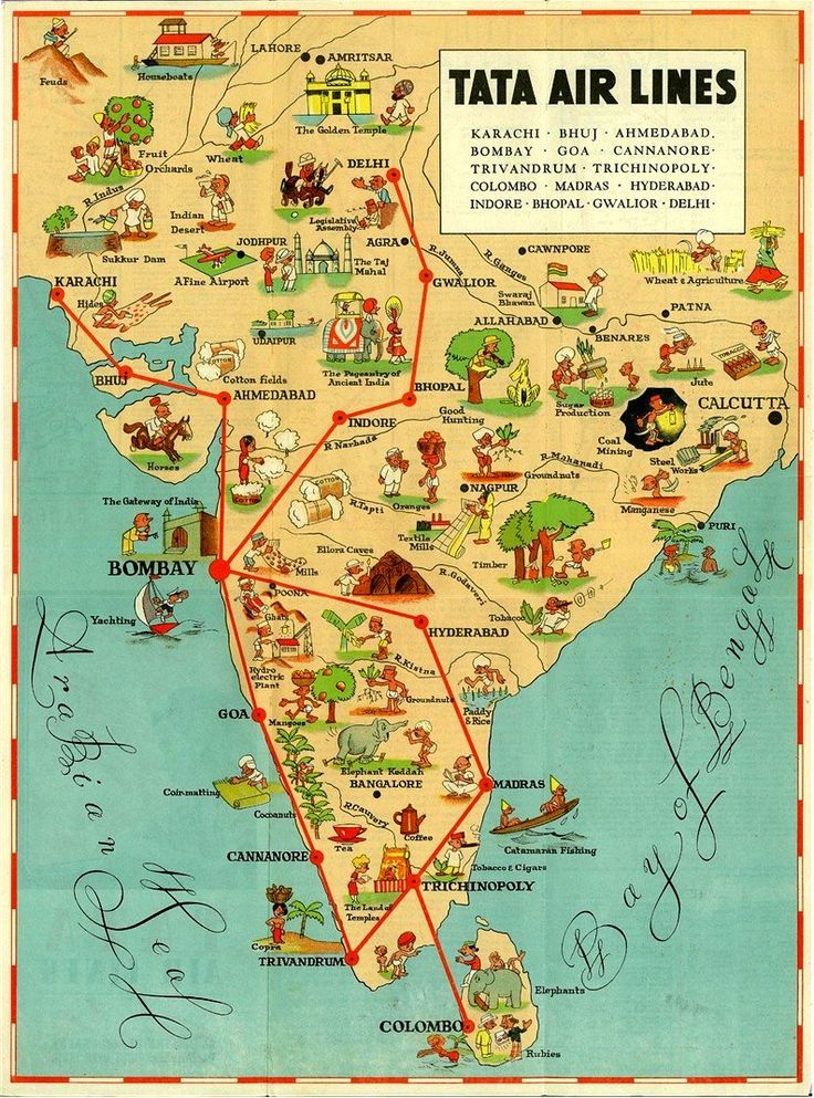 india vintage illustrated map