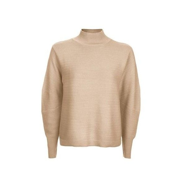 TopShop Tall Cocoon Horizontal Jumper ($45) ❤ liked on Polyvore featuring tops, sweaters, camel, jumpers sweaters, topshop jumpers, jumper top, camel sweater and funnel neck top