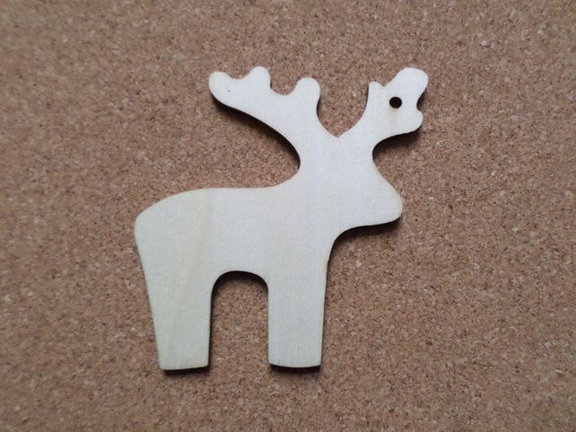 10 x Blank Wooden Craft Shapes - 70mm - Christmas - Reindeer (With FREE Jute!)