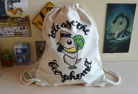 OOAK Hand painted Baphomet Jr. Sport Bag also known as