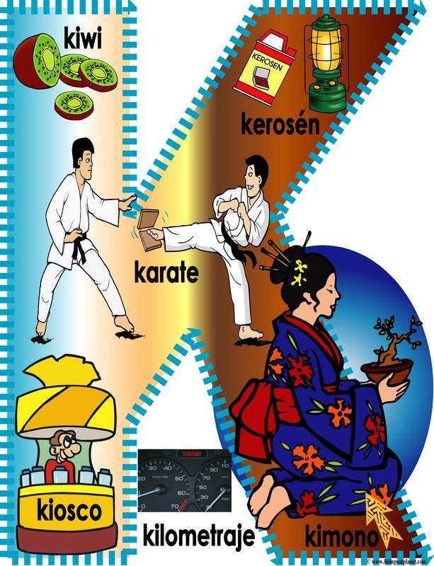 Spaanse woorden leren aan de hand van het Spaanse alfabet met afbeelding. Spaanse woorden die beginnen met k.