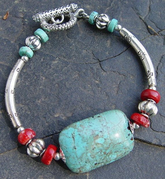 African Turquoise, Red Coral and Silver Southwest Style Bracelet - Western, Cowgirl