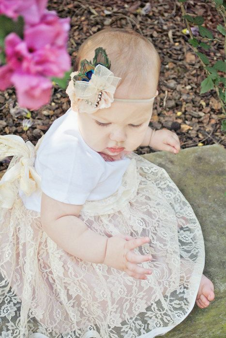 Shabby Chic Infant Summer Lace Tutu Onesie Dress by chachalouise, $45.00