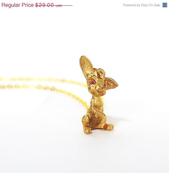 Early Easter Sale Vintage bunny rabbit golden by bunnyboutique