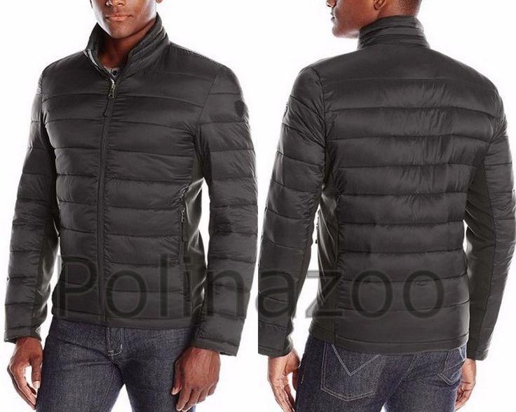 Guess Men S Jacket Lightweight Puffer Winter Black Navy
