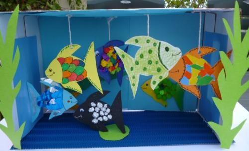 Bastelideen/basteln-kleines-Aquarium-Fische1
