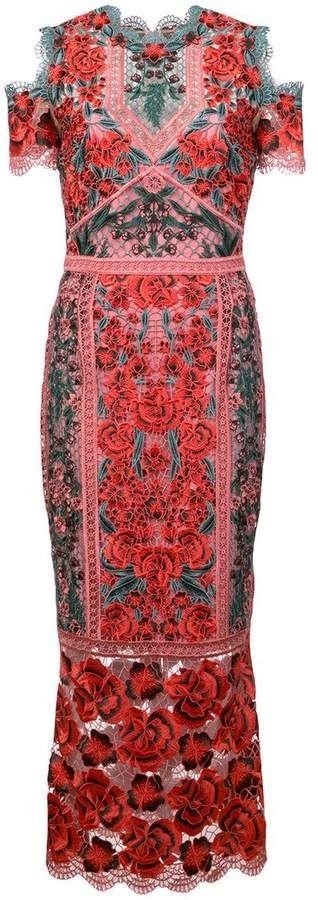 Marchesa embroidered cold shoulder dress